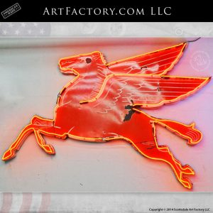 Old Mobil Pegasus Sign: Authentic Vintage Collectible Neon Advertising