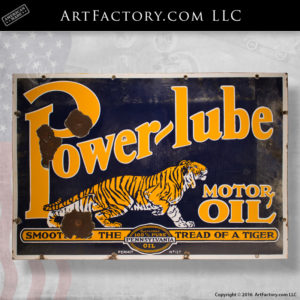 Power-Lube Motor Oil Tiger Sign