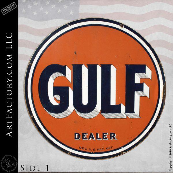 Vintage Large Gulf Fuel Dealer Sign