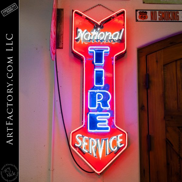 Vintage Neon National Tire Service Sign