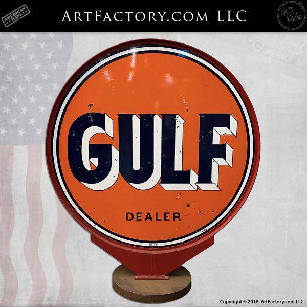 vintage 6 foot round Gulf Dealer sign