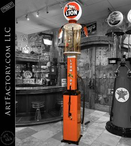 Gilbert & Barker Vintage Visible Gas Pump: Model 67 With Lion Oil Globe