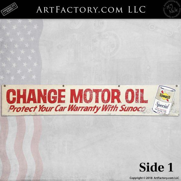 Sunoco free motor oil sign side 1