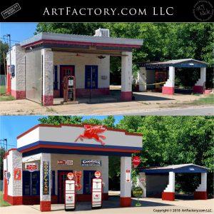 Vintage Mobil Pegasus Gas Station Before After