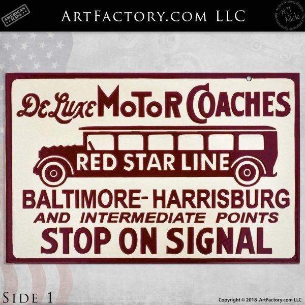 Vintage Red Star Line Deluxe Motor Coach Flange Sign