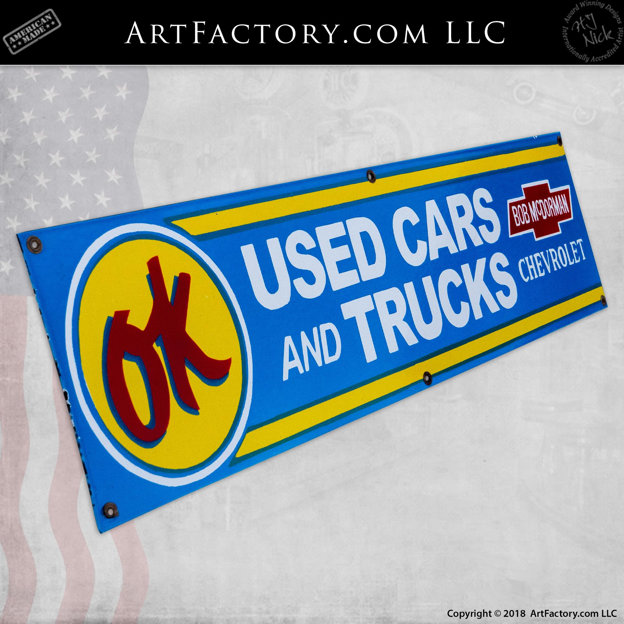 Vintage Ok Sign Bob Mcdorman Chevrolet Used Cars Trucks