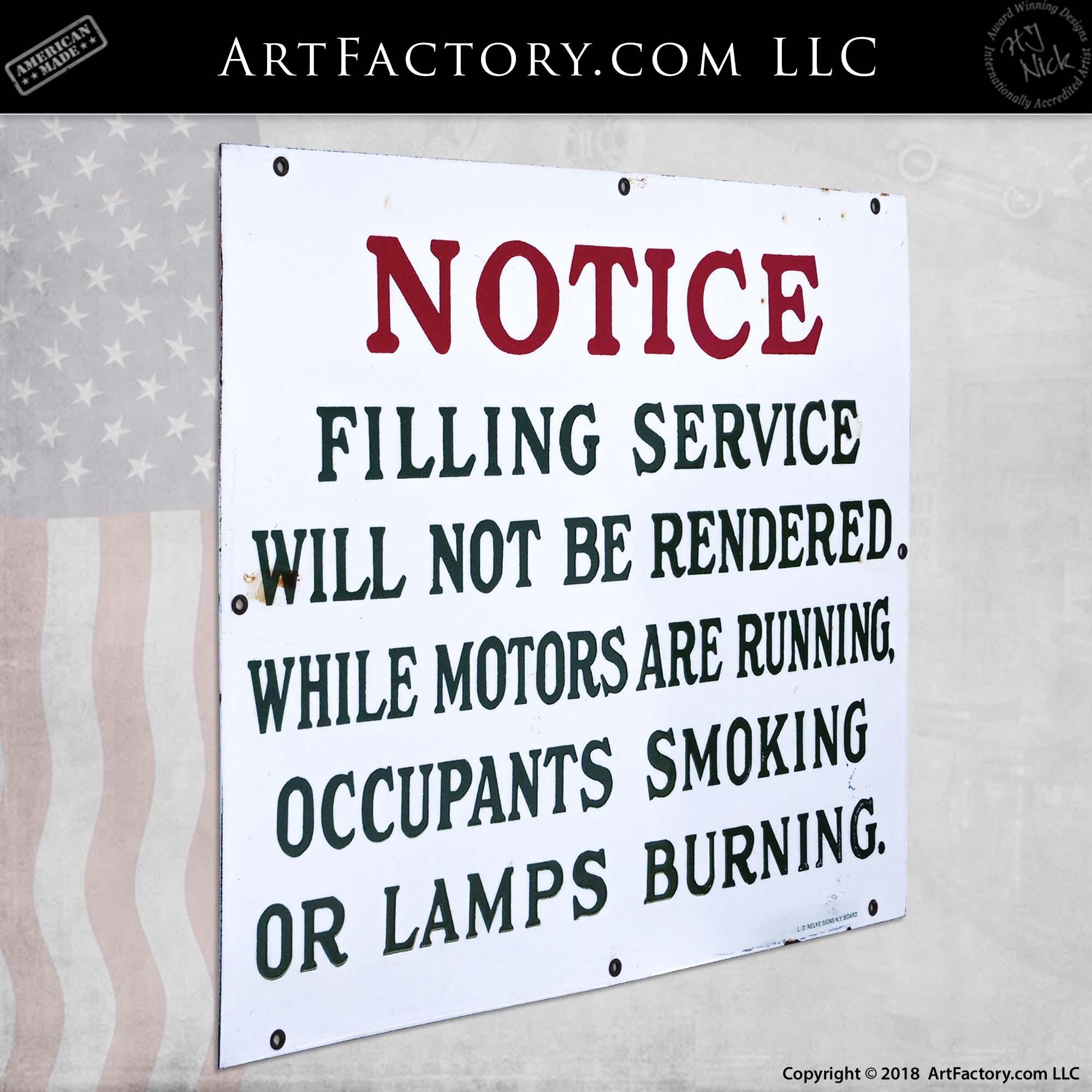 Vintage Filling Service Notice Sign