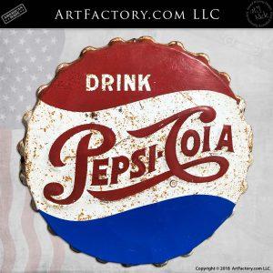 Vintage Pepsi Bottle Cap Metal Sign