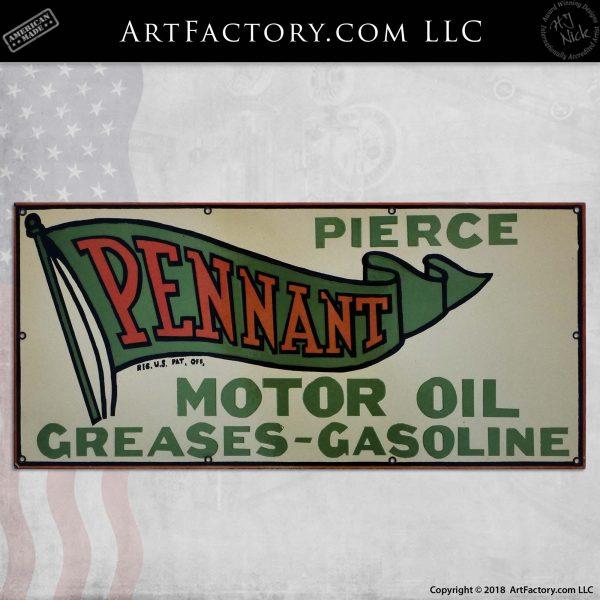 Vintage Pierce Pennant Motor Oil Sign