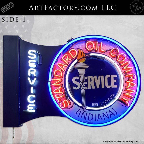 Vintage Standard Oil Service Neon Flange Sign