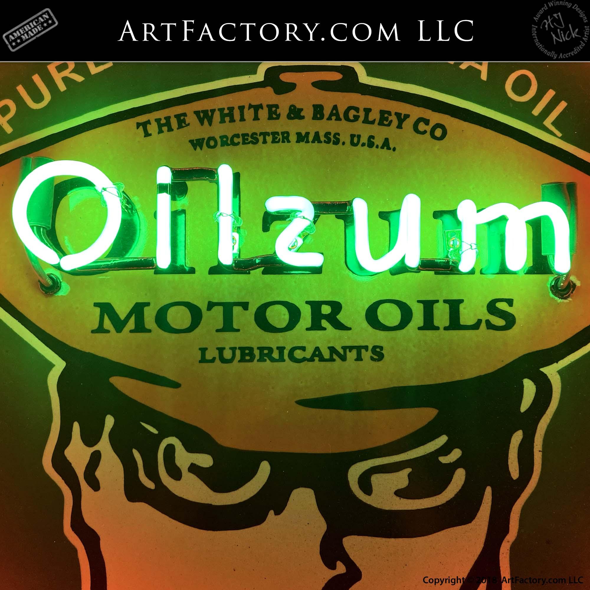 Vintage Oilzum Motor Oil Neon Sign