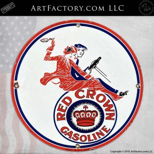 Vintage Red Crown Gasoline Driving Couple Sign