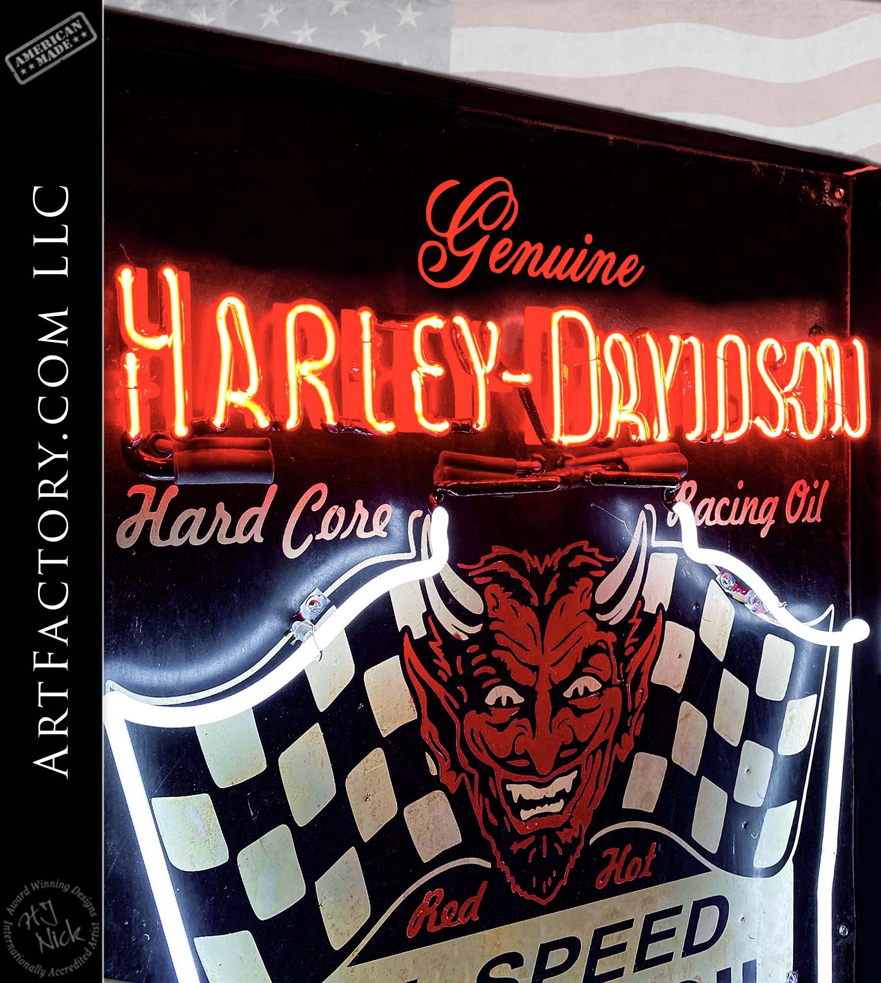 Rare Vintage Harley Davidson Motor Oil Neon Sign