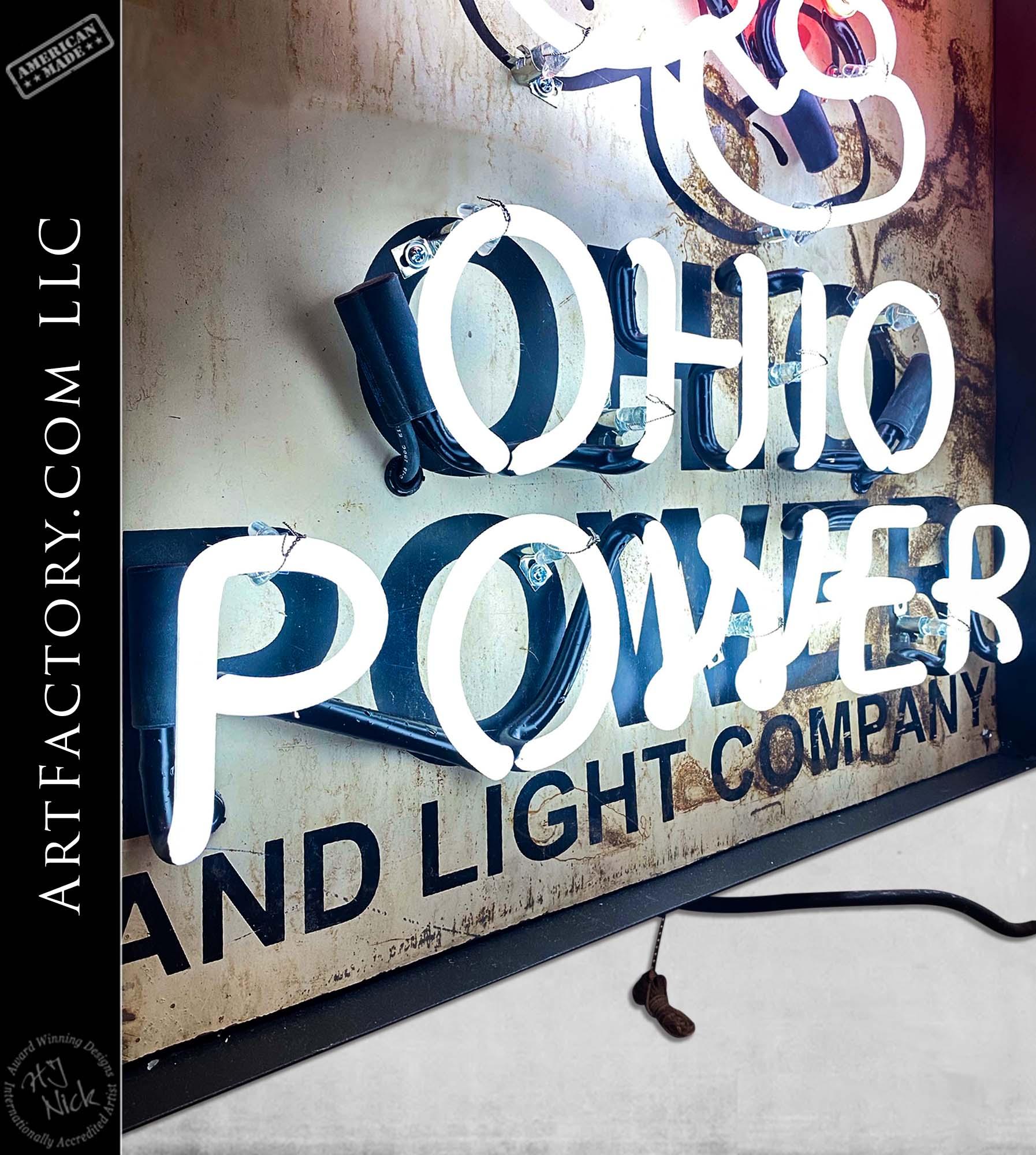 Vintage Rare Ohio Power Reddy Kilowatt Neon Sign