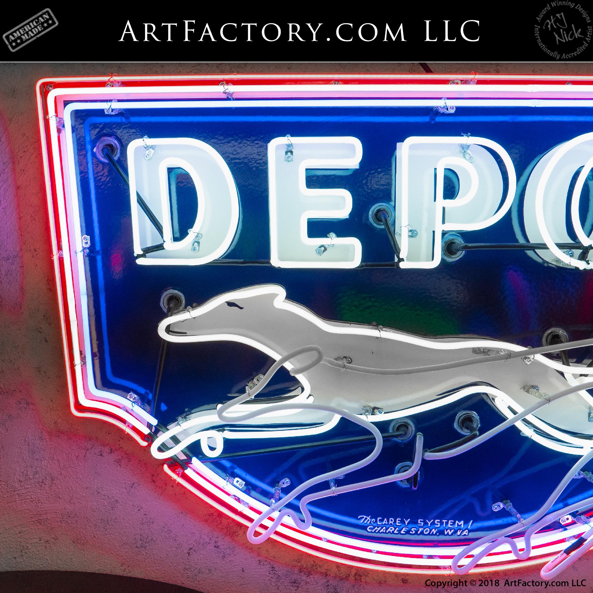 Vintage Neon Greyhound Depot Sign