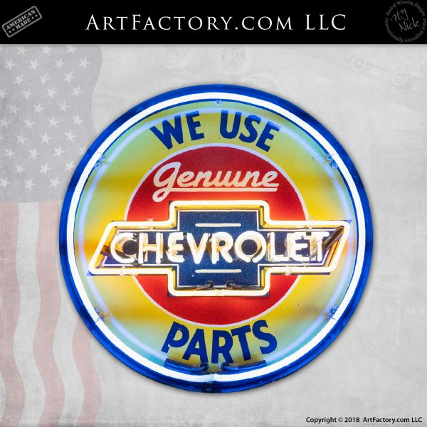 Vintage Round Chevy Neon Sign