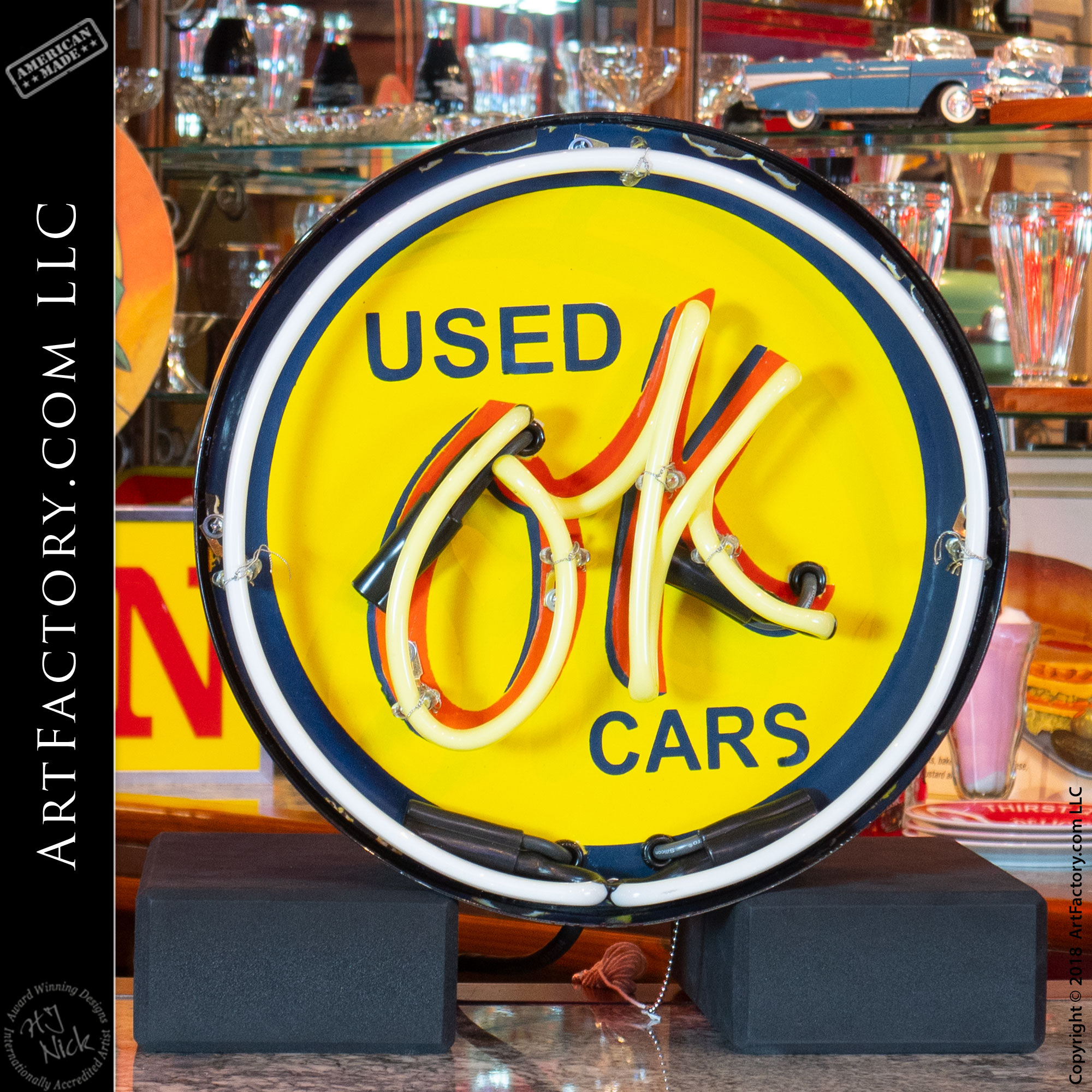 Vintage Used Ok Cars Neon Sign