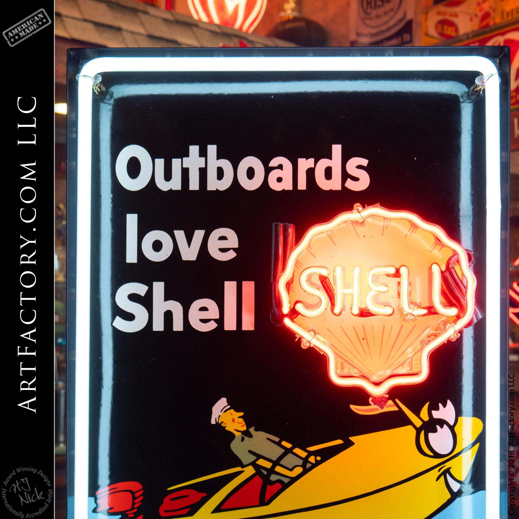 Vintage Neon Shell Sign