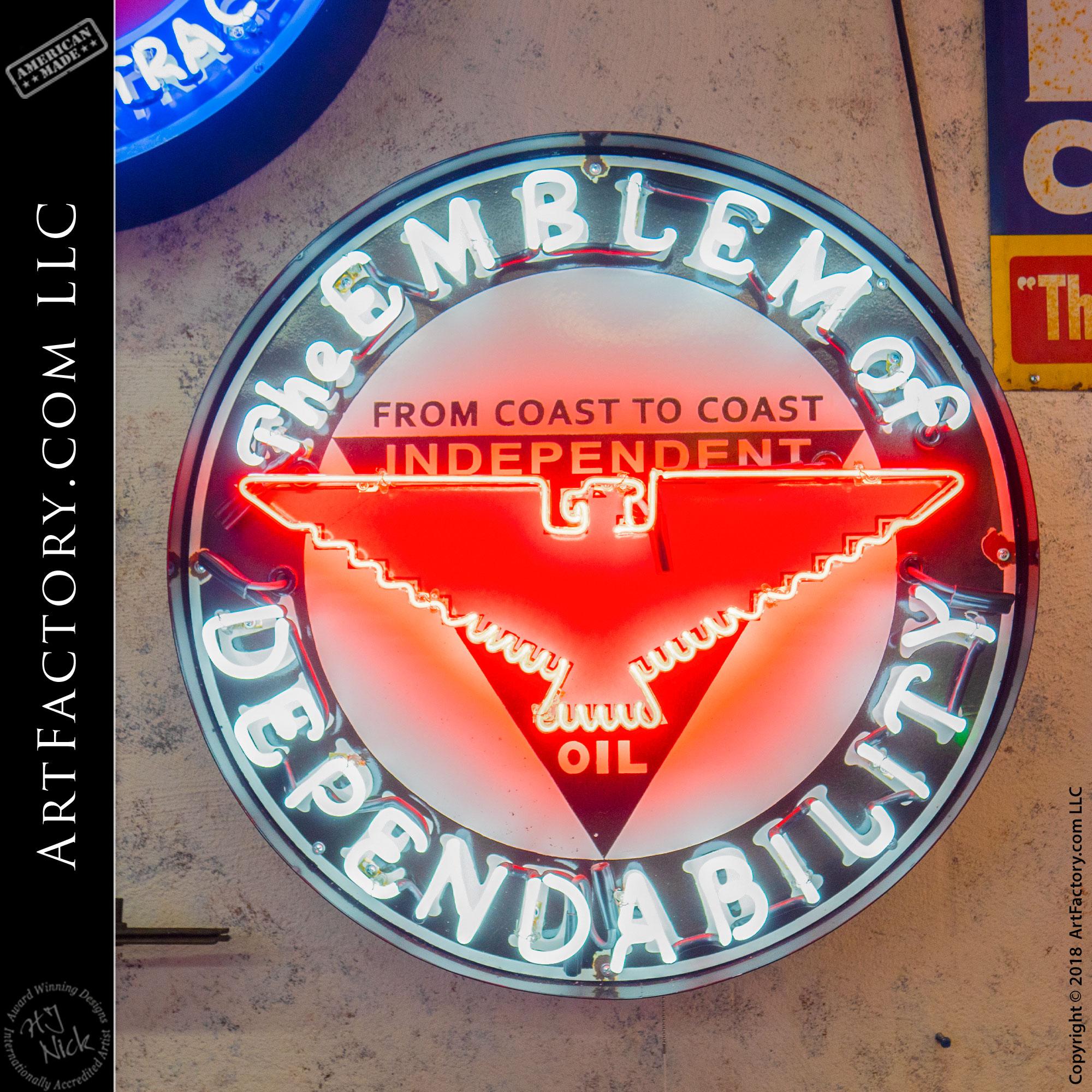 Vintage Neon Independent Oil sign