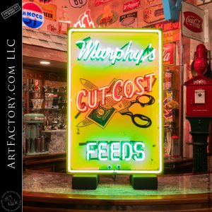 Vintage Neon Murphy's Feed Sign