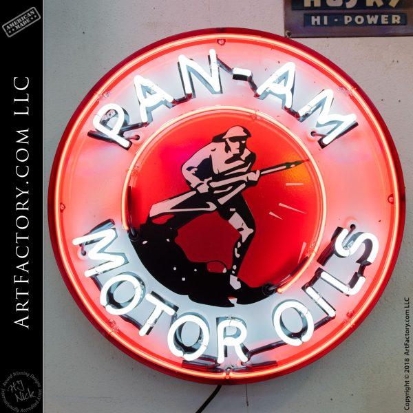 Vintage Neon Pan Am Motor Oil Sign World War One